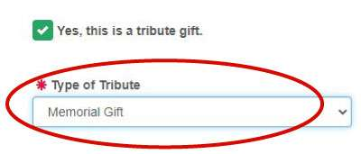 Screenshot - select Memorial Gift from Drop Down on donation form